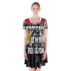Football Is My Religion Short Sleeve V Neck Flare Dress by Valentinaart