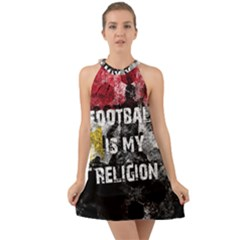 Football Is My Religion Halter Tie Back Chiffon Dress by Valentinaart