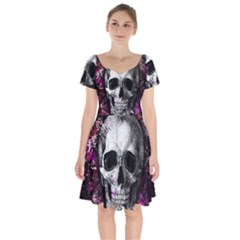 Skull Short Sleeve Bardot Dress by Valentinaart