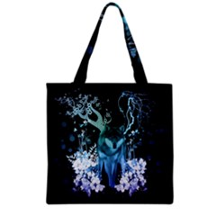 Amazing Wolf With Flowers, Blue Colors Grocery Tote Bag by FantasyWorld7