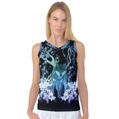 Amazing Wolf With Flowers, Blue Colors Women s Basketball Tank Top by FantasyWorld7