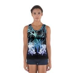 Amazing Wolf With Flowers, Blue Colors Sport Tank Top