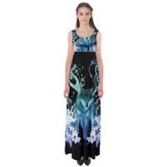 Amazing Wolf With Flowers, Blue Colors Empire Waist Maxi Dress by FantasyWorld7