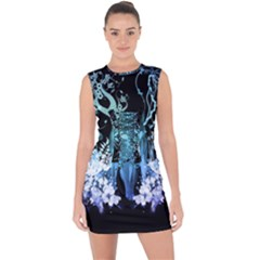 Amazing Wolf With Flowers, Blue Colors Lace Up Front Bodycon Dress by FantasyWorld7
