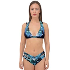Amazing Wolf With Flowers, Blue Colors Double Strap Halter Bikini Set