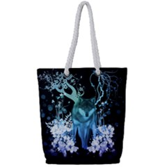 Amazing Wolf With Flowers, Blue Colors Full Print Rope Handle Tote (small)