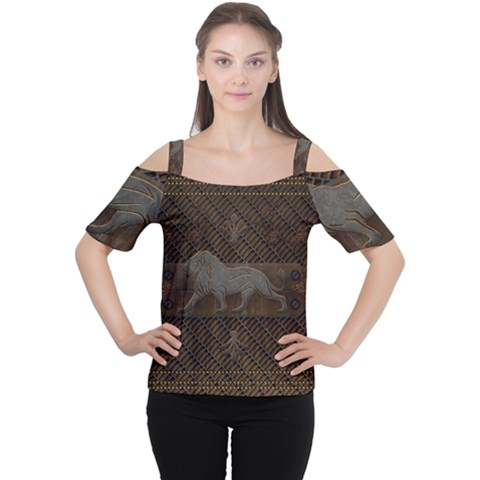 Wonderful Steampunk Lion With Floral Elements Cutout Shoulder Tee by FantasyWorld7