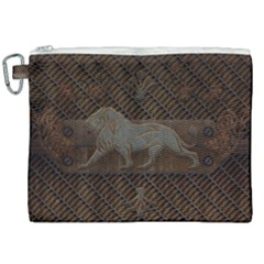Wonderful Steampunk Lion With Floral Elements Canvas Cosmetic Bag (xxl)