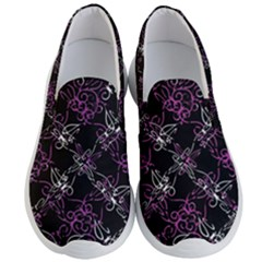 Dark Intersecting Lace Pattern Men s Lightweight Slip Ons