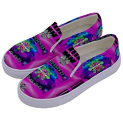 Flower Cartoon In A Cave Pop Art Kids  Canvas Slip Ons by pepitasart