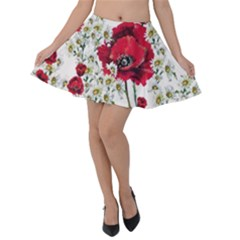 Poppy And Daisy Print Velvet Skater Skirt by CasaDiModa