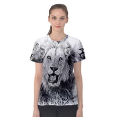 Lion Wildlife Art And Illustration Pencil Women s Sport Mesh Tee