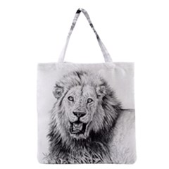 Lion Wildlife Art And Illustration Pencil Grocery Tote Bag by Samandel