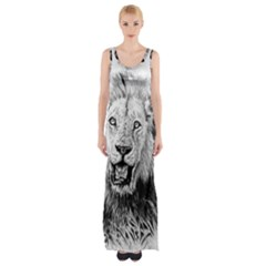 Lion Wildlife Art And Illustration Pencil Maxi Thigh Split Dress