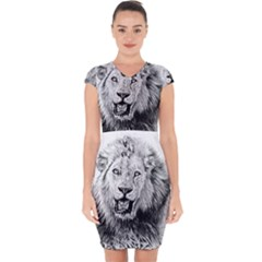 Lion Wildlife Art And Illustration Pencil Capsleeve Drawstring Dress