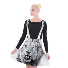 Lion Wildlife Art And Illustration Pencil Suspender Skater Skirt
