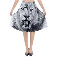Lion Wildlife Art And Illustration Pencil Flared Midi Skirt