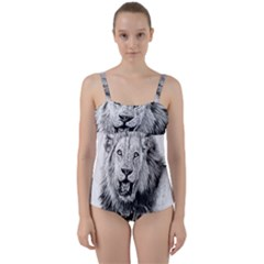 Lion Wildlife Art And Illustration Pencil Twist Front Tankini Set