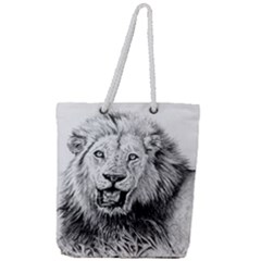 Lion Wildlife Art And Illustration Pencil Full Print Rope Handle Tote (large)
