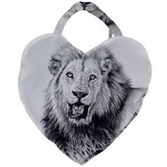 Lion Wildlife Art And Illustration Pencil Giant Heart Shaped Tote by Samandel