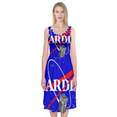 Tardis Nasa Parody Midi Sleeveless Dress by Samandel
