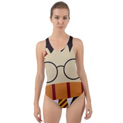 Harry Potter Cartoon Cut Out Back One Piece Swimsuit by Samandel