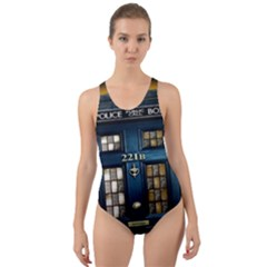 Tardis Sherlock Holmes 221b Cut Out Back One Piece Swimsuit