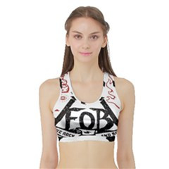 Save Rock And Roll Fob Fall Out Boy Sports Bra With Border