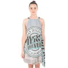 Pierce The Veil San Diego California Halter Collar Waist Tie Chiffon Dress