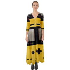 Game Boy Color Yellow Button Up Boho Maxi Dress