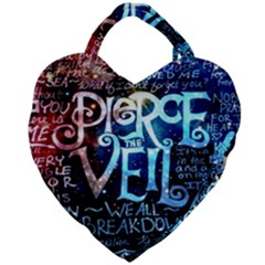 Pierce The Veil Quote Galaxy Nebula Giant Heart Shaped Tote by Samandel