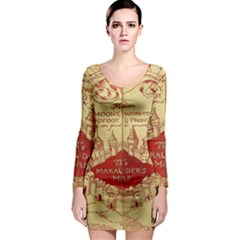 Marauders Map Long Sleeve Bodycon Dress