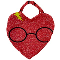 Glasses And Lightning Glitter Giant Heart Shaped Tote by Samandel