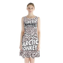 Artic Monkeys Flower Circle Sleeveless Waist Tie Chiffon Dress