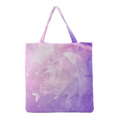 Beautiful Rose, Soft Violet Colors Grocery Tote Bag by FantasyWorld7