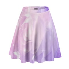 Beautiful Rose, Soft Violet Colors High Waist Skirt by FantasyWorld7