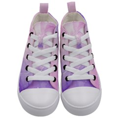 Beautiful Rose, Soft Violet Colors Kid s Mid Top Canvas Sneakers