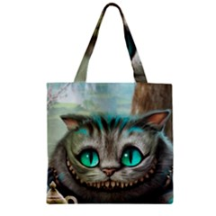 Cheshire Cat Zipper Grocery Tote Bag by Samandel
