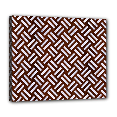 Woven2 White Marble & Reddish Brown Wood Deluxe Canvas 24  X 20   by trendistuff