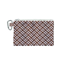 Woven2 White Marble & Reddish Brown Wood Canvas Cosmetic Bag (small) by trendistuff