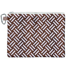 Woven2 White Marble & Reddish Brown Wood Canvas Cosmetic Bag (xxl) by trendistuff