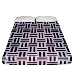 Woven1 White Marble & Reddish Brown Wood (r) Fitted Sheet (california King Size)