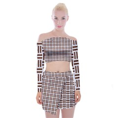 Woven1 White Marble & Reddish Brown Wood (r) Off Shoulder Top With Mini Skirt Set