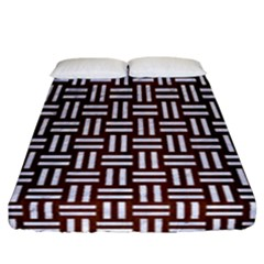 Woven1 White Marble & Reddish Brown Wood Fitted Sheet (california King Size)