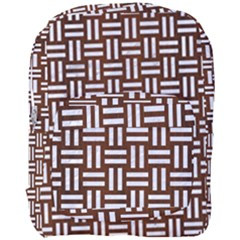 Woven1 White Marble & Reddish Brown Wood Full Print Backpack by trendistuff