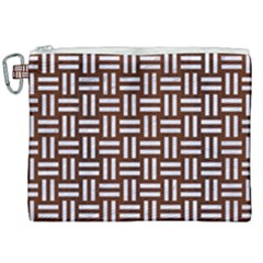 Woven1 White Marble & Reddish Brown Wood Canvas Cosmetic Bag (xxl) by trendistuff
