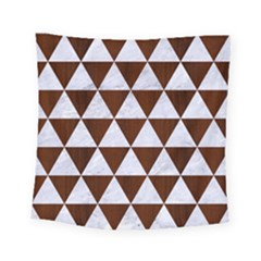 Triangle3 White Marble & Reddish Brown Wood Square Tapestry (small) by trendistuff