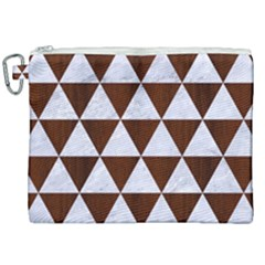 Triangle3 White Marble & Reddish Brown Wood Canvas Cosmetic Bag (xxl) by trendistuff