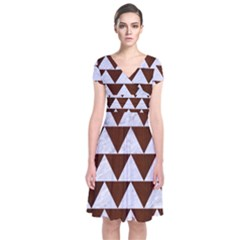 Triangle2 White Marble & Reddish Brown Wood Short Sleeve Front Wrap Dress
