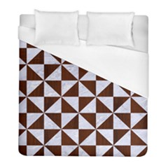 Triangle1 White Marble & Reddish Brown Wood Duvet Cover (full/ Double Size) by trendistuff